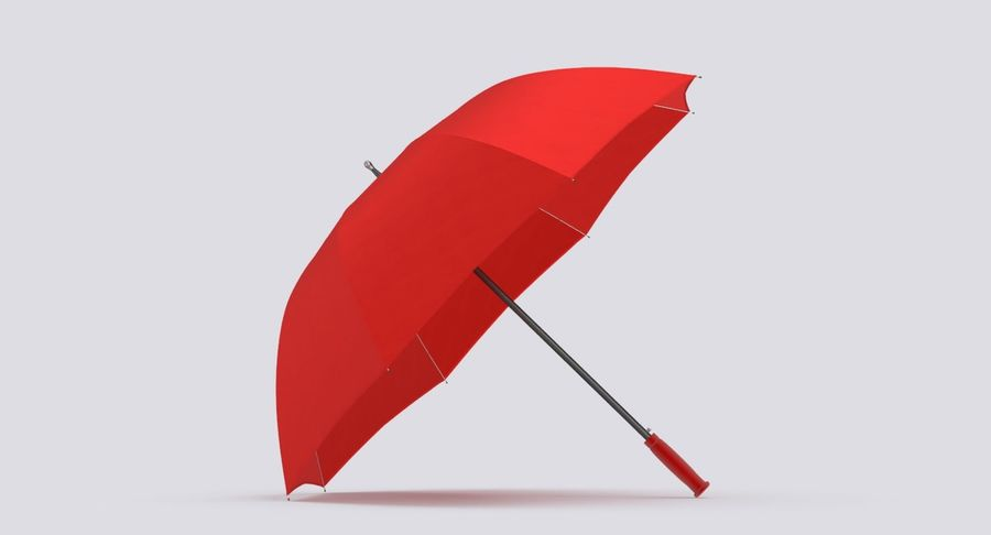 Open Red Umbrella royalty-free 3d model - Preview no. 5
