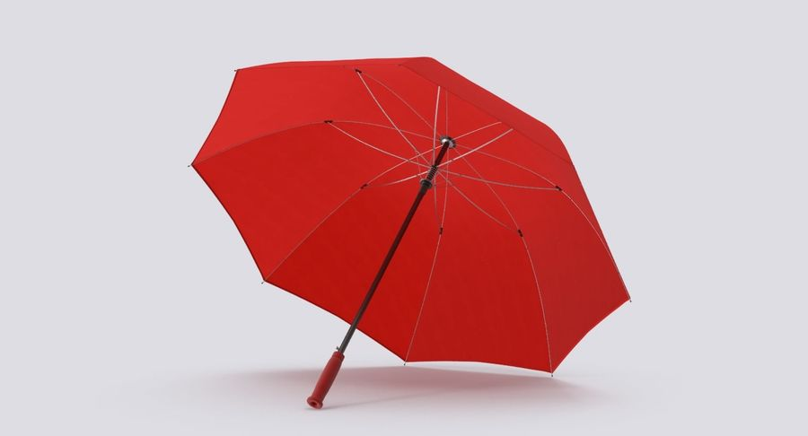 Open Red Umbrella royalty-free 3d model - Preview no. 3