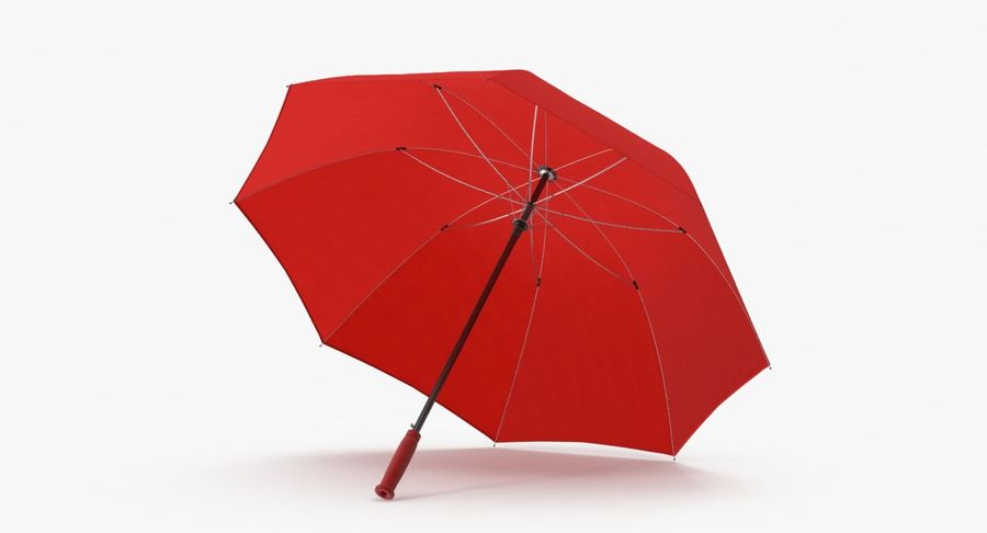 Open Red Umbrella royalty-free 3d model - Preview no. 2