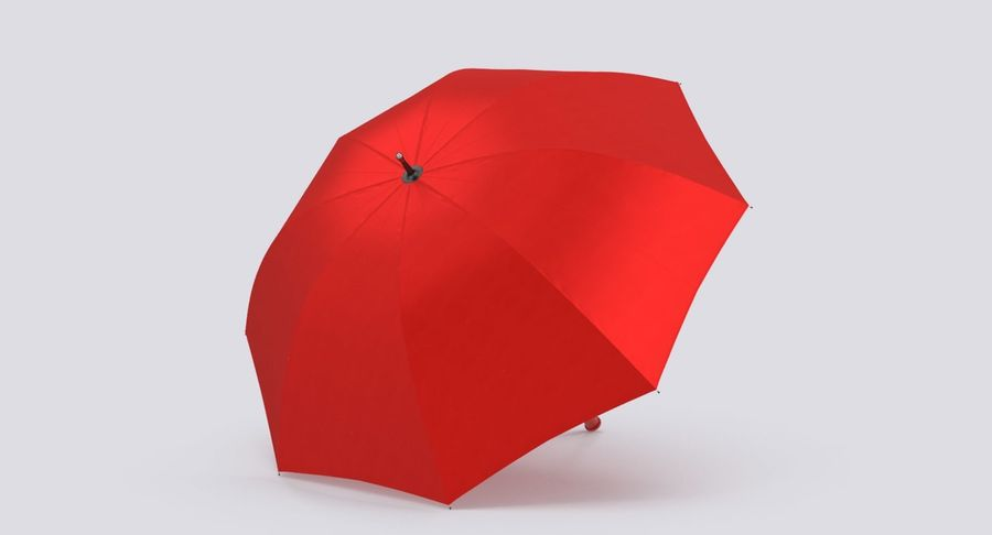 Open Red Umbrella royalty-free 3d model - Preview no. 4