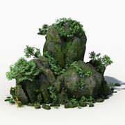 Stein bedeckt mit Moos 04 3d model
