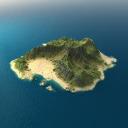 Terrain insulaire tropical 1 3d model