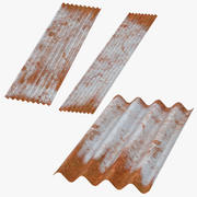 Corrugated Metal Sheets Rusted 3d model