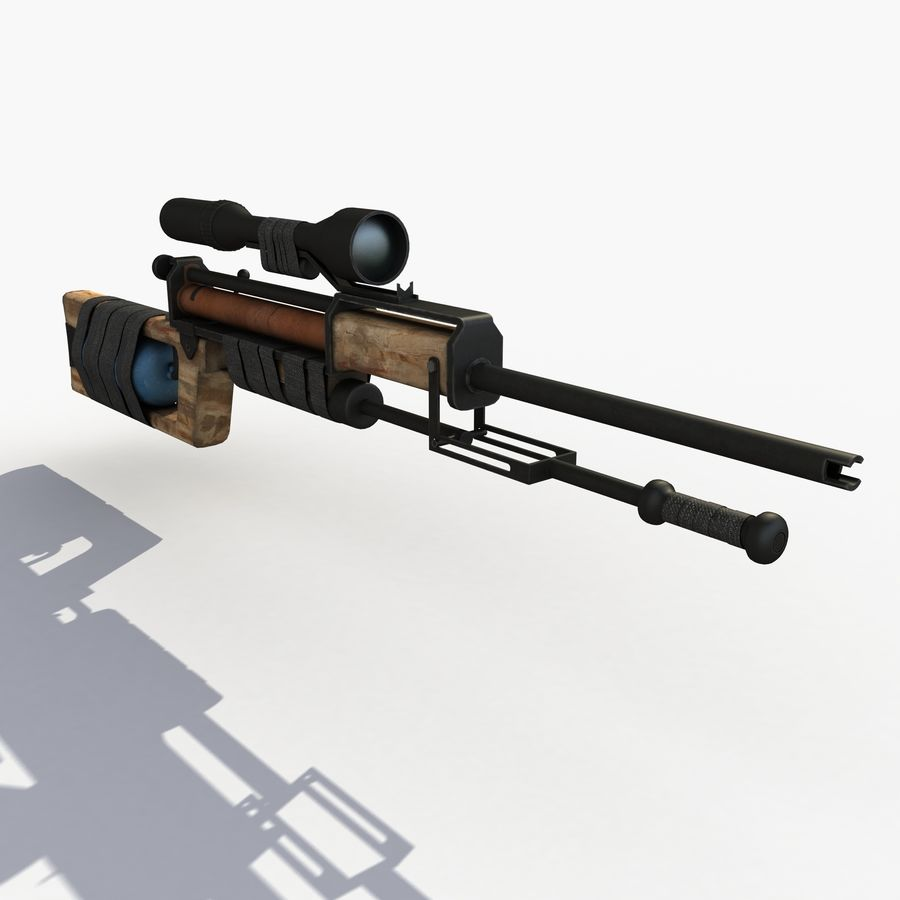 Post Apocalyptic PCP Rifle royalty-free 3d model - Preview no. 4