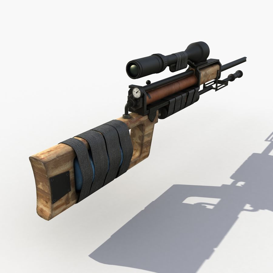 Post Apocalyptic PCP Rifle royalty-free 3d model - Preview no. 3