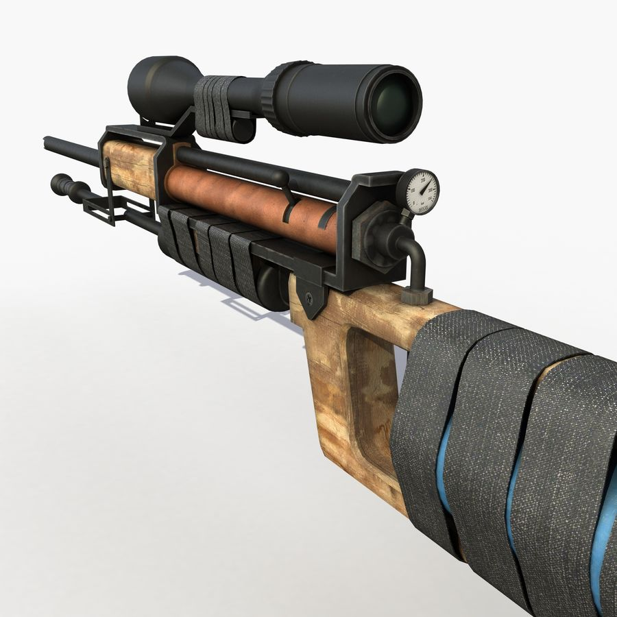 Post Apocalyptic PCP Rifle royalty-free 3d model - Preview no. 7