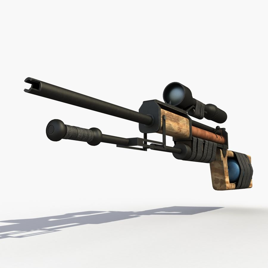 Post Apocalyptic PCP Rifle royalty-free 3d model - Preview no. 5