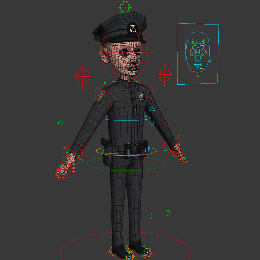 Rigged Karikatür Polis ve Hırsız royalty-free 3d model - Preview no. 5