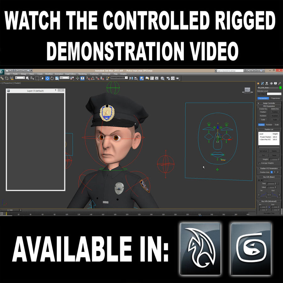 Rigged Karikatür Polis ve Hırsız royalty-free 3d model - Preview no. 3