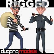 Rigged Karikatür Polis ve Hırsız 3d model