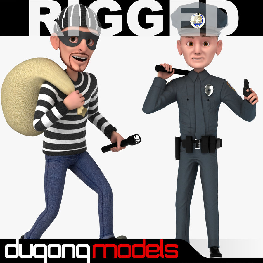 Rigged Karikatür Polis ve Hırsız royalty-free 3d model - Preview no. 1