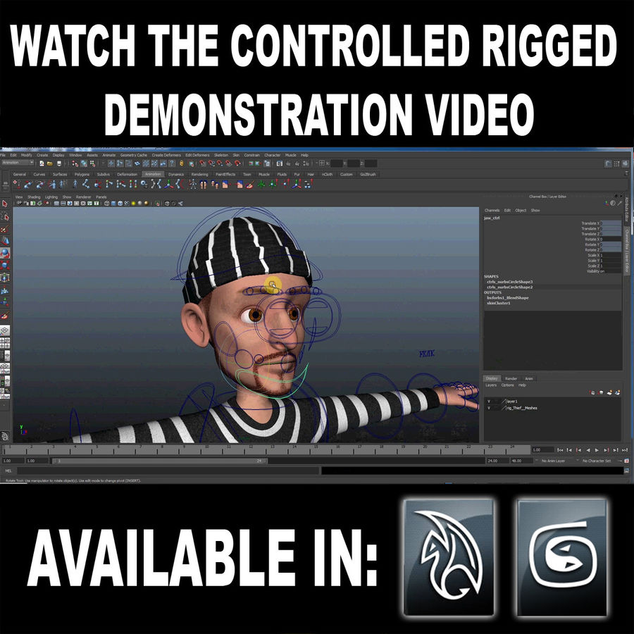 Rigged Karikatür Polis ve Hırsız royalty-free 3d model - Preview no. 2