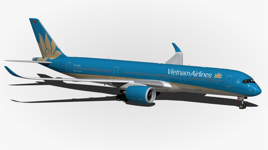 Airbus A350 Vietnam Airlines royalty-free 3d model - Preview no. 10