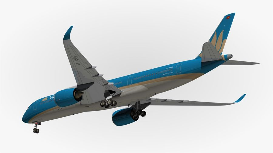 Airbus A350 Vietnam Airlines royalty-free 3d model - Preview no. 13