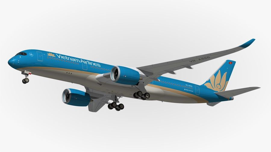 Airbus A350 Vietnam Airlines royalty-free 3d model - Preview no. 12