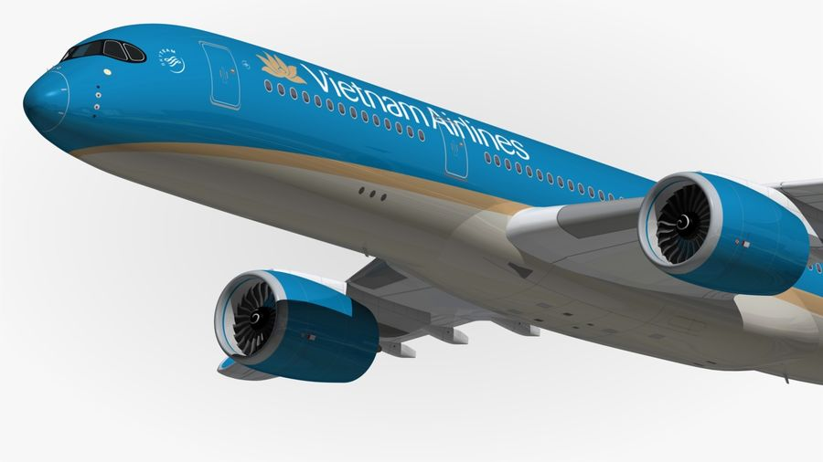 Airbus A350 Vietnam Airlines royalty-free 3d model - Preview no. 3