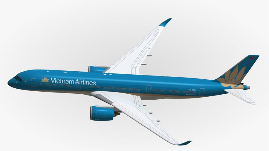 Airbus A350 Vietnam Airlines royalty-free 3d model - Preview no. 5