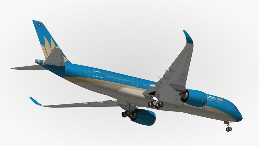 Airbus A350 Vietnam Airlines royalty-free 3d model - Preview no. 14