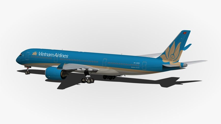 Airbus A350 Vietnam Airlines royalty-free 3d model - Preview no. 8