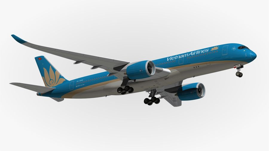 Airbus A350 Vietnam Airlines royalty-free 3d model - Preview no. 11