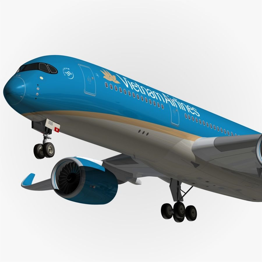 Airbus A350 Vietnam Airlines royalty-free 3d model - Preview no. 1
