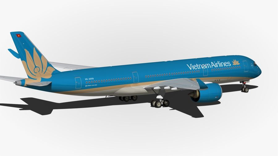 Airbus A350 Vietnam Airlines royalty-free 3d model - Preview no. 9