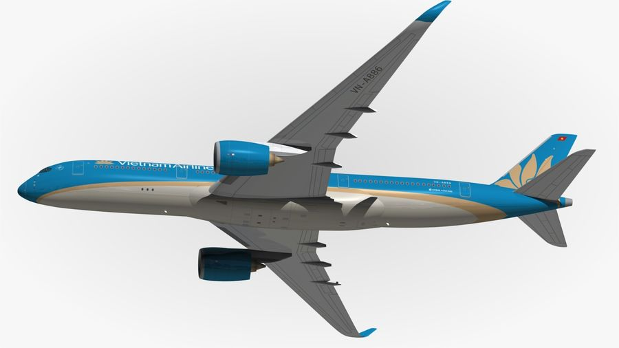 Airbus A350 Vietnam Airlines royalty-free 3d model - Preview no. 6
