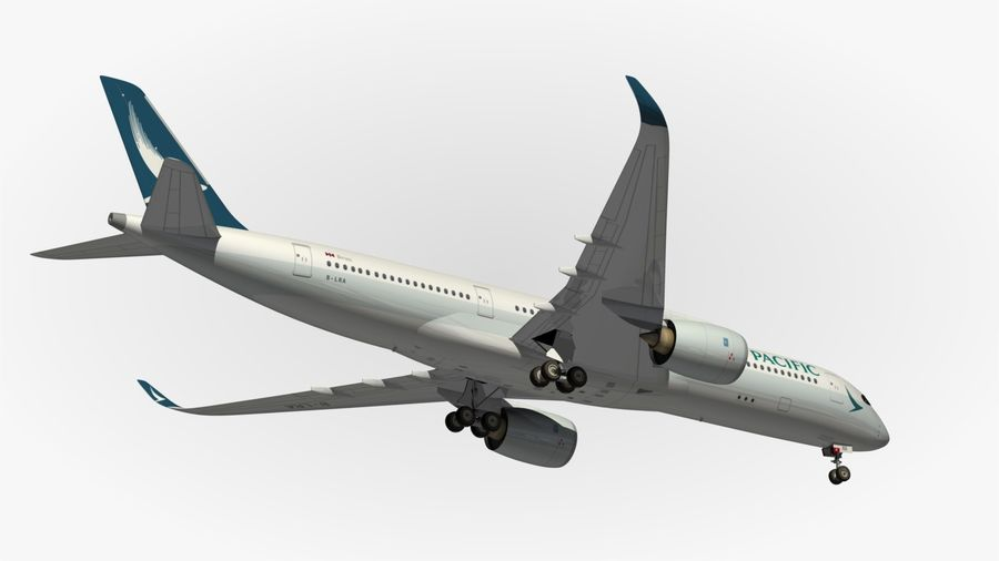 Airbus A350 Cathay Pacific royalty-free 3d model - Preview no. 14