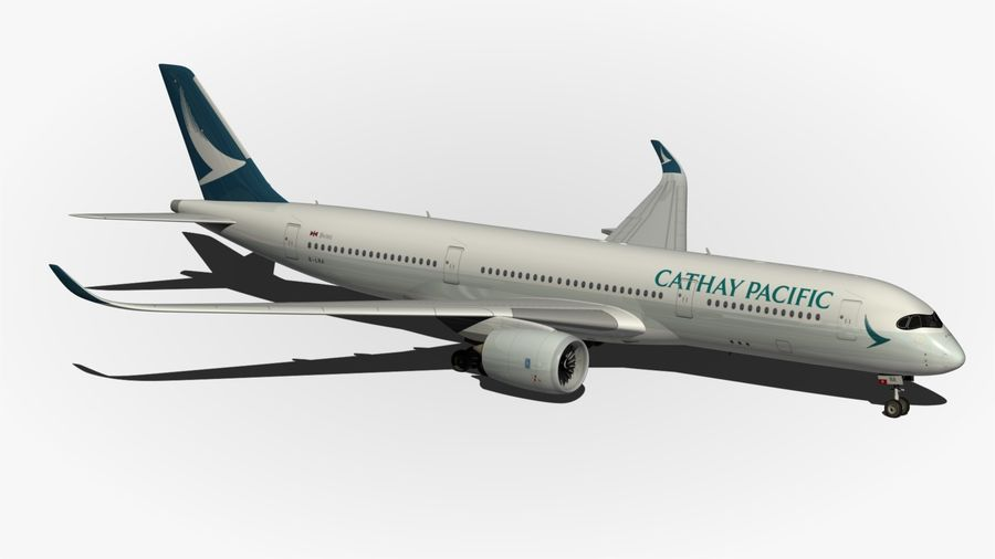 Airbus A350 Cathay Pacific royalty-free 3d model - Preview no. 10