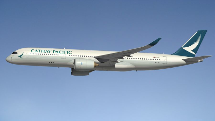 Airbus A350 Cathay Pacific royalty-free 3d model - Preview no. 4