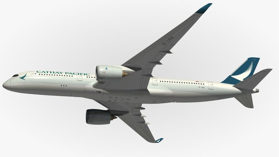 Airbus A350 Cathay Pacific royalty-free 3d model - Preview no. 5