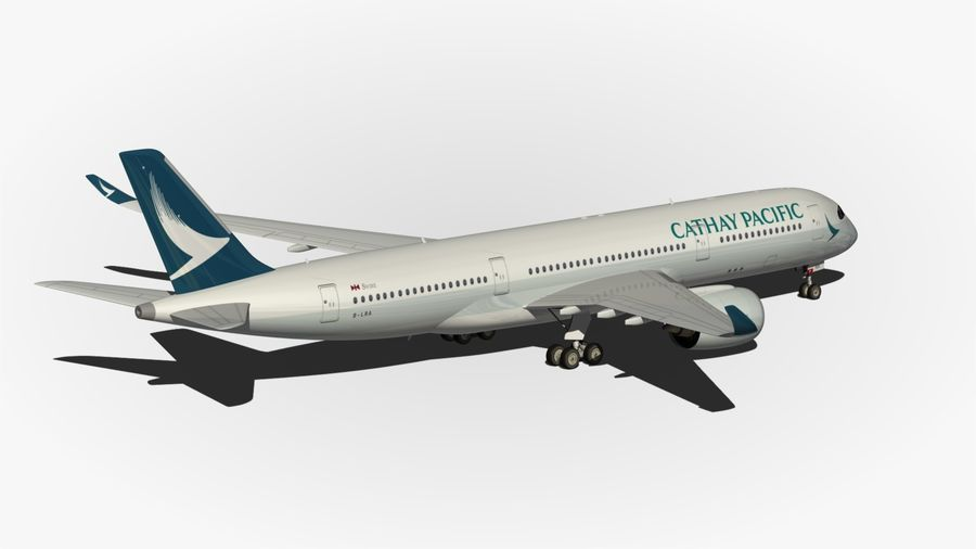 Airbus A350 Cathay Pacific royalty-free 3d model - Preview no. 9