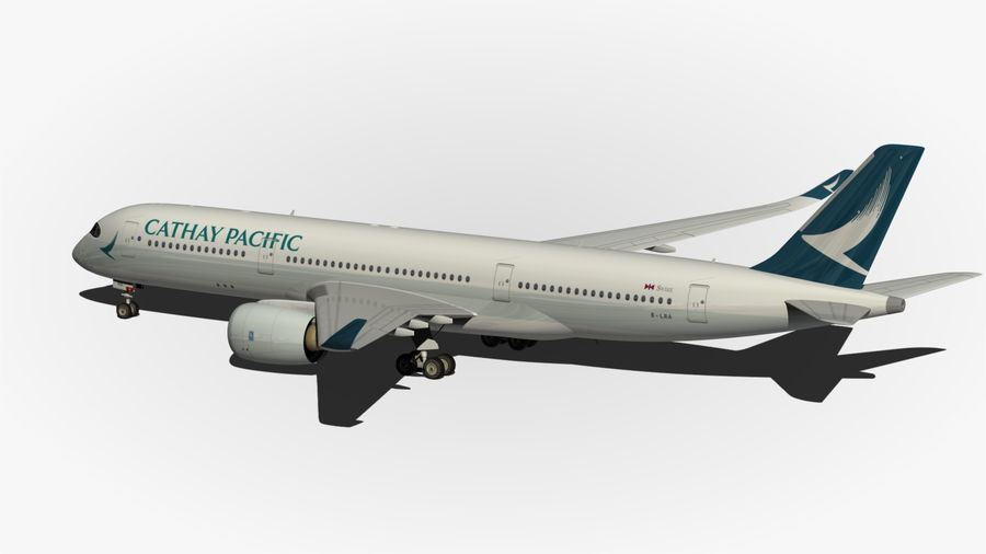 Airbus A350 Cathay Pacific royalty-free 3d model - Preview no. 8