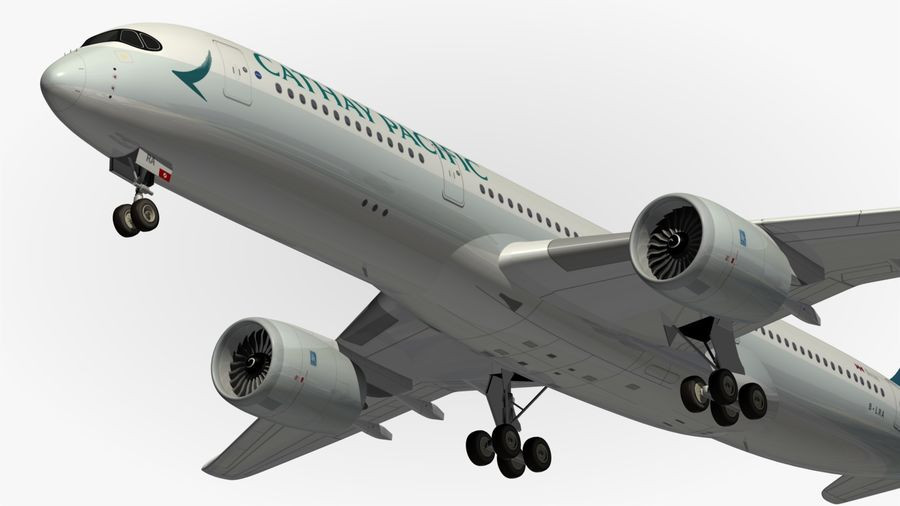 Airbus A350 Cathay Pacific royalty-free 3d model - Preview no. 2