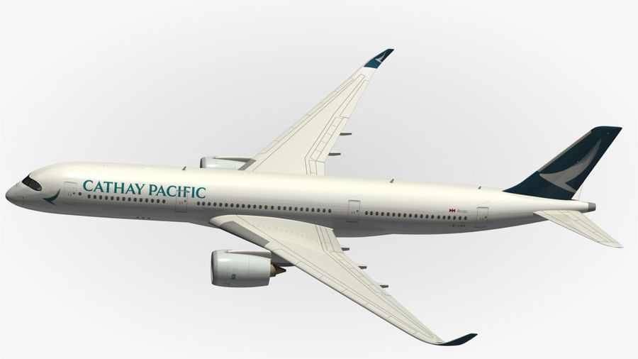 Airbus A350 Cathay Pacific royalty-free 3d model - Preview no. 6