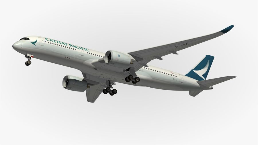 Airbus A350 Cathay Pacific royalty-free 3d model - Preview no. 12