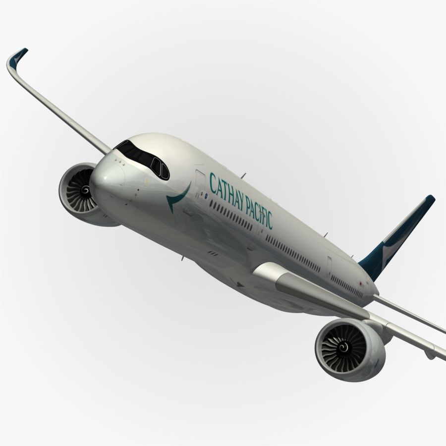 Airbus A350 Cathay Pacific royalty-free 3d model - Preview no. 1