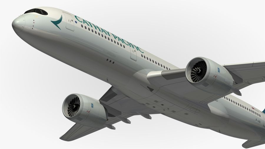 Airbus A350 Cathay Pacific royalty-free 3d model - Preview no. 3