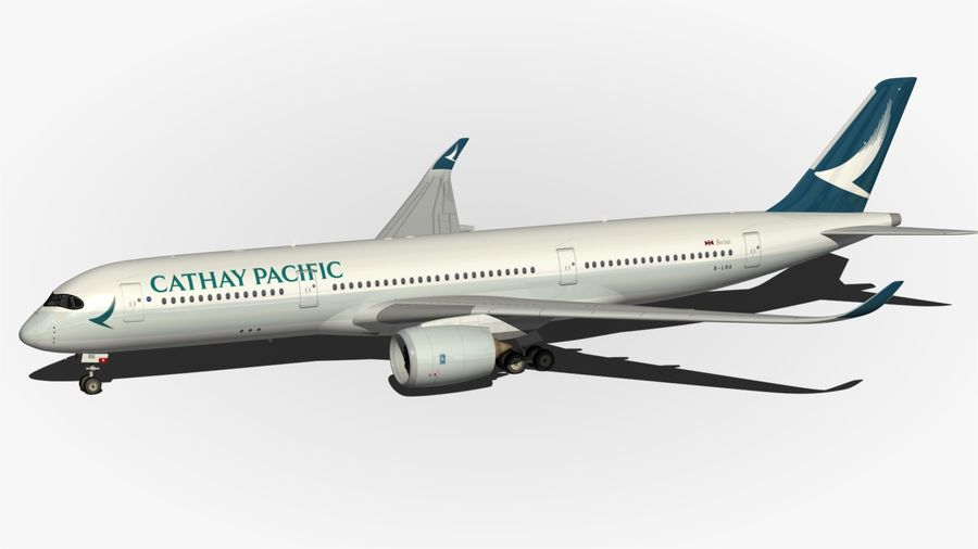 Airbus A350 Cathay Pacific royalty-free 3d model - Preview no. 7