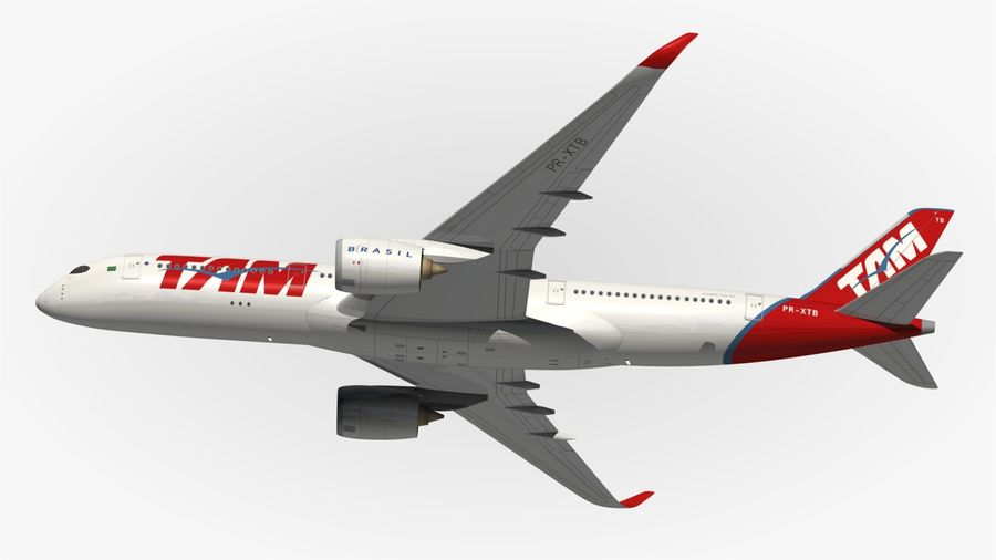 空中客车A350 TAM royalty-free 3d model - Preview no. 5
