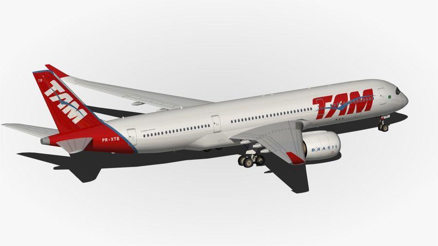 空中客车A350 TAM royalty-free 3d model - Preview no. 9