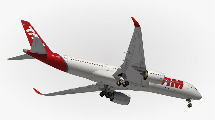 空中客车A350 TAM royalty-free 3d model - Preview no. 14