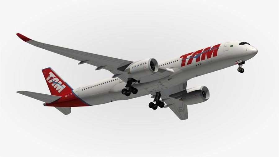 空中客车A350 TAM royalty-free 3d model - Preview no. 11