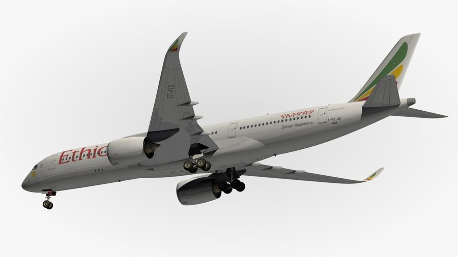 Airbus A350 Ethiopian royalty-free 3d model - Preview no. 13