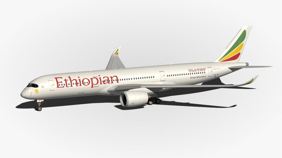 Airbus A350 Ethiopian royalty-free 3d model - Preview no. 7