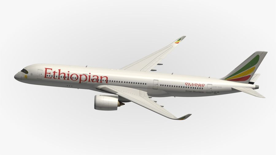 Airbus A350 Ethiopian royalty-free 3d model - Preview no. 5