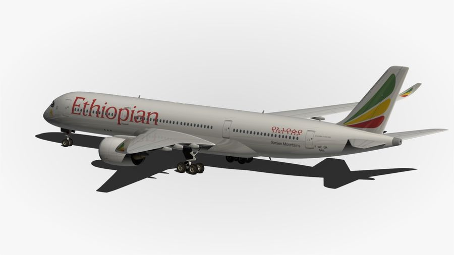 Airbus A350 Ethiopian royalty-free 3d model - Preview no. 8