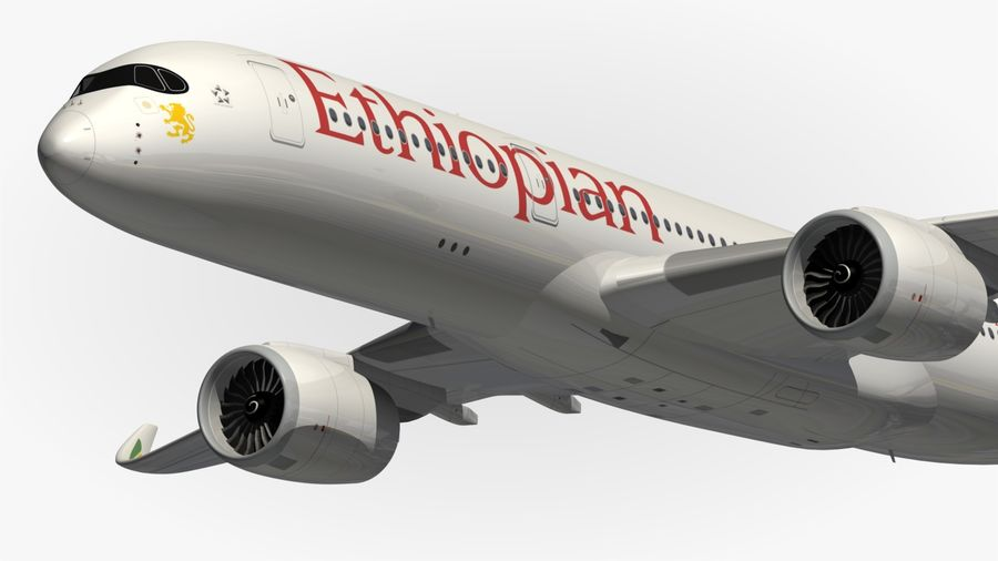 Airbus A350 Ethiopian royalty-free 3d model - Preview no. 3