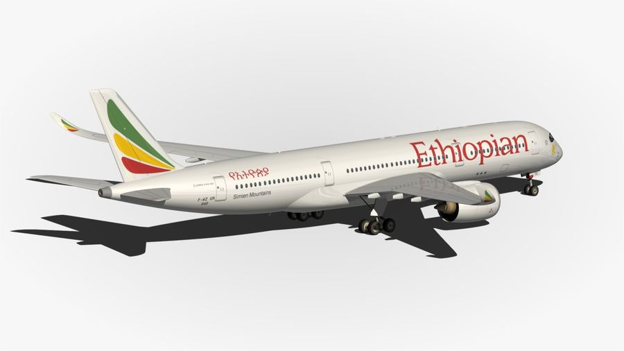 Airbus A350 Ethiopian royalty-free 3d model - Preview no. 9