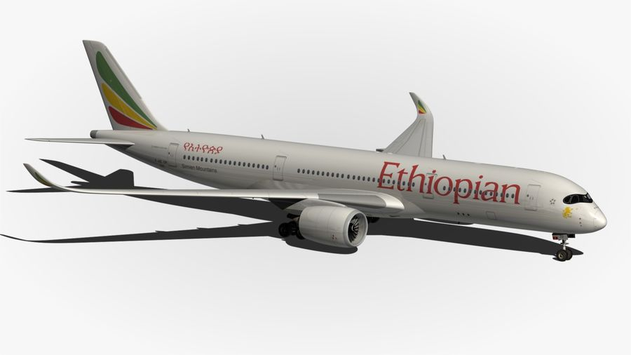 Airbus A350 Ethiopian royalty-free 3d model - Preview no. 10